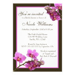 Pink Orchid Flowers Bridal Shower Custom Announcements