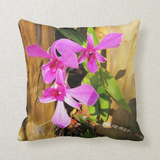Pink Orchid in Tree Throw Pillow