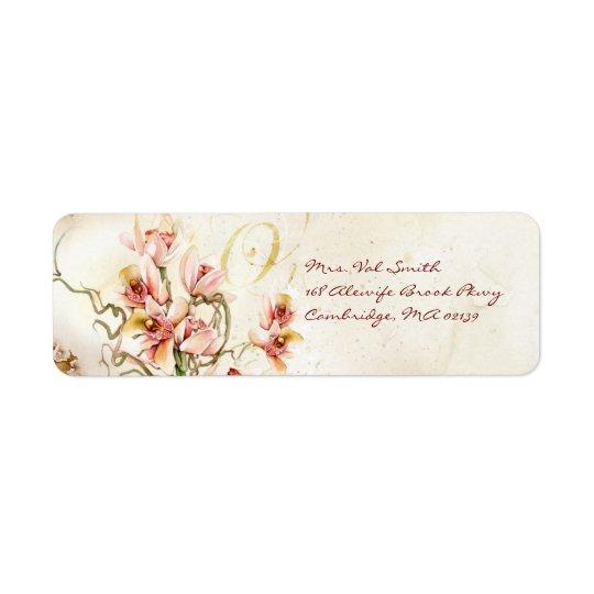 Pink orchid label return address label