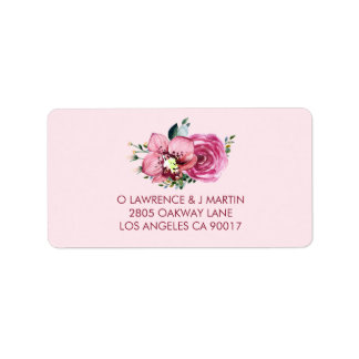 Pink Orchid & Rose Label