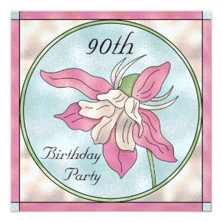 Pink Orchid Stain Glass Effect 90th Birthday Card