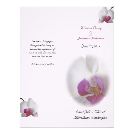 Pink Orchid Wedding Program Flyer Design