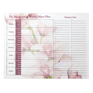 Pink Orchid Weekly Personalized Meal Planner Notepad