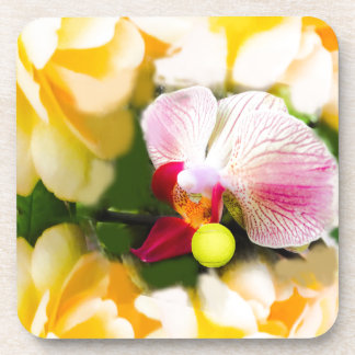 Pink orchid with tennis ball beverage coasters