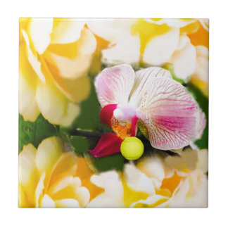 Pink orchid with tennis ball ceramic tiles