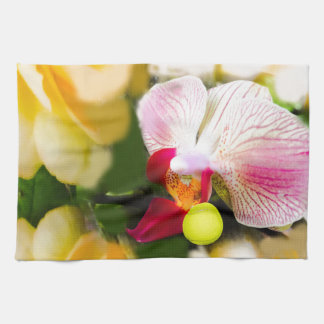 Pink orchid with tennis ball kitchen towel