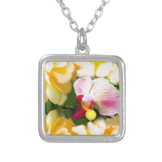 Pink orchid with tennis ball silver plated necklace