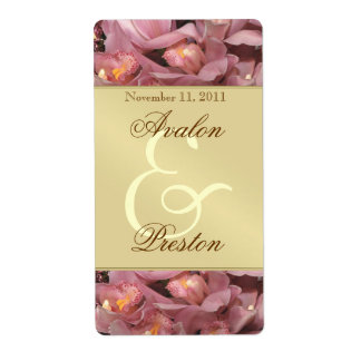 Pink Orchids Gold Wine Wedding Label