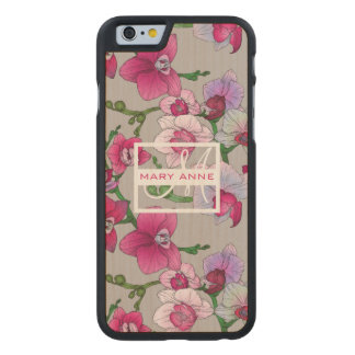 Pink Orchids In Bloom   Add Your Name Carved® Maple iPhone 6 Slim Case