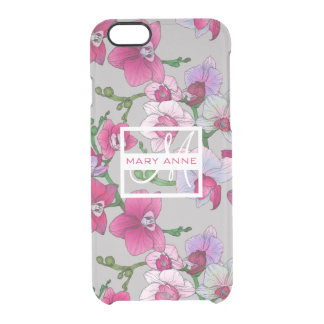 Pink Orchids In Bloom   Add Your Name Clear iPhone 6/6S Case