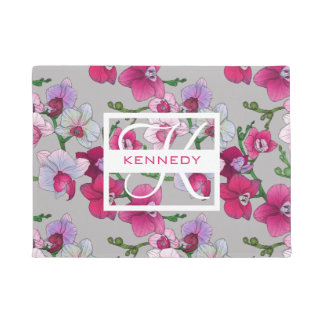 Pink Orchids In Bloom | Add Your Name Doormat