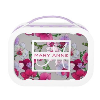 Pink Orchids In Bloom | Add Your Name Lunchbox