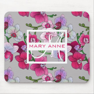 Pink Orchids In Bloom | Add Your Name Mouse Pad