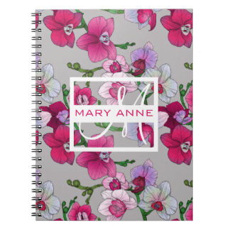 Pink Orchids In Bloom | Add Your Name Note Books