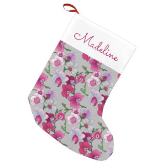 Pink Orchids In Bloom | Add Your Name Small Christmas Stocking