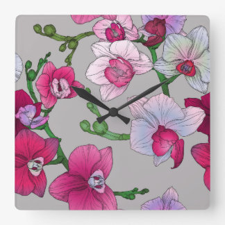 Pink Orchids In Bloom Clocks