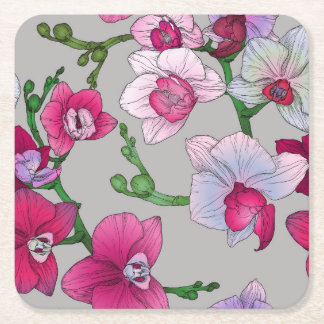 Pink Orchids In Bloom Square Paper Coaster