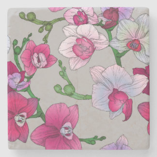 Pink Orchids In Bloom Stone Beverage Coaster