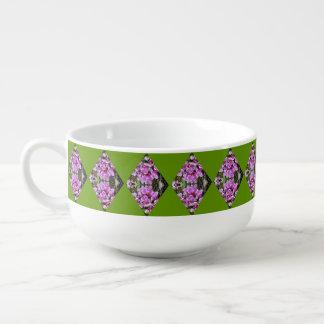 Pink Orchids In Diamond Pattern Soup Mug
