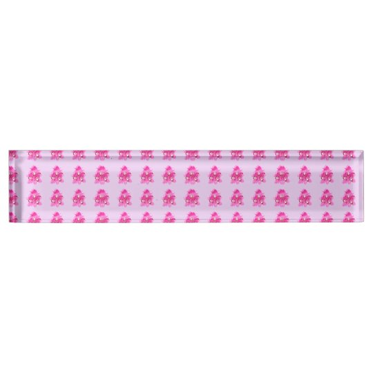 Pink Orchids Pattern Desk Nameplate CUSTOMIZABLE