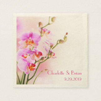 Pink Orchids Personalized Elegant Wedding Paper Napkin