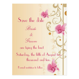 Pink Orchids Save the date Card