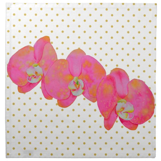 Pink Orchids with gold polka-dots Cloth Napkin