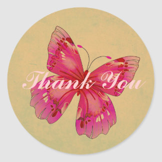 Pink Oriental vintage butterfly art Thank You Classic Round Sticker