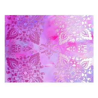 Pink Ornate Design Postcard