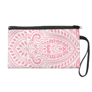 Pink Ornate Swirls One White Background Wristlet