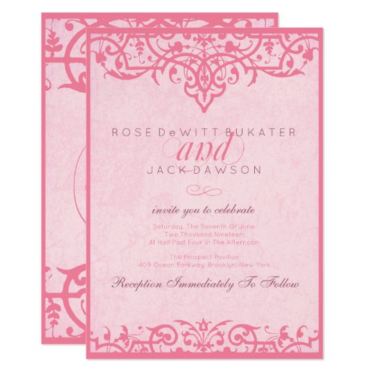 Pink Ornate Wedding Invitations
