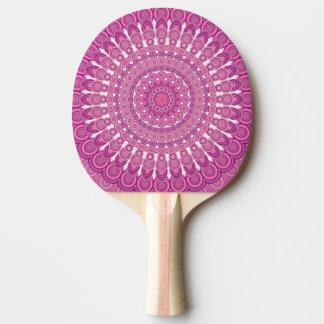 Pink oval mandala ping pong paddle