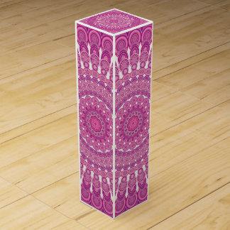 Pink oval mandala wine gift box