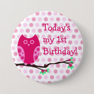 Pink Owl 1st Birthday Button