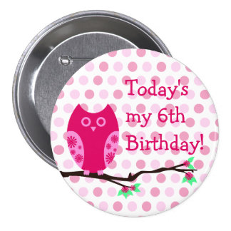 Pink Owl 6th Birthday Button
