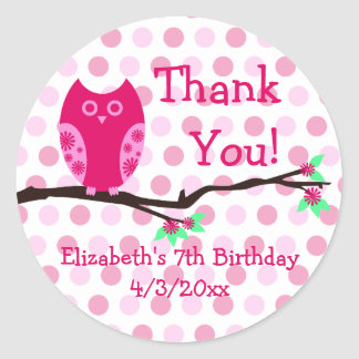Pink Owl 7th Birthday Personalized Favor Tags