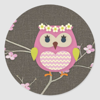 Pink Owl and Blossoms Sticker