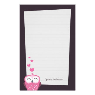 Pink Owl and Love Hearts Note Paper (lined) Stationery
