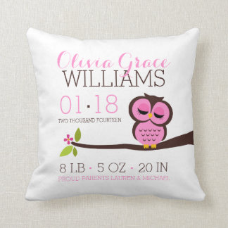 Pink Owl Baby Birth Announcement Pillows