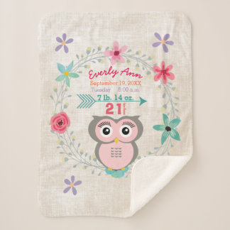 Pink Owl Baby Girl Stats Watercolor Wreath Sherpa Blanket