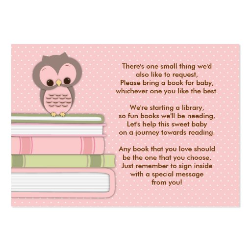 Pink Owl Baby Shower Book Insert Request Card Business Card Templates