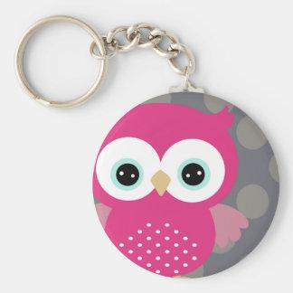 Pink Owl Basic Round Button Keychain