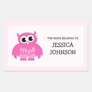 Pink owl book label stickers | School supplies
