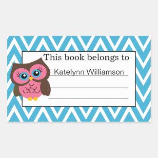 Pink Owl Chevron Custom Bookplate Sticker