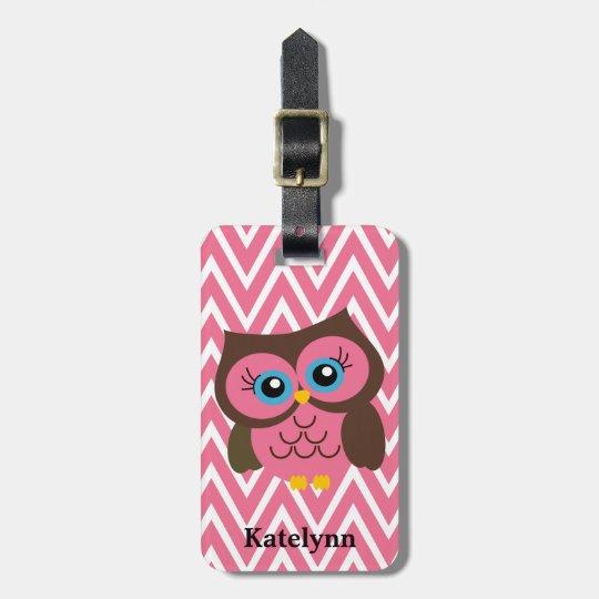 Pink Owl Chevron Custom Monogram Luggage Tag