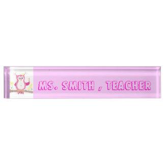 Pink owl chevron teacher desk nameplate