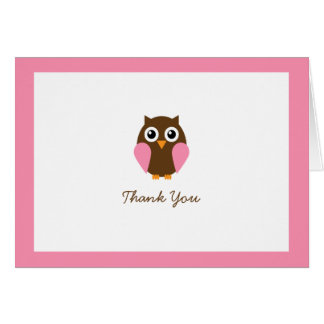 Pink Owl Custom Folded Thank You Cards