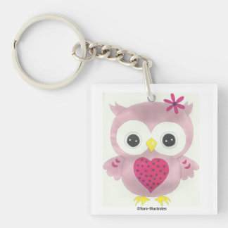 Pink Owl Graphic Keychain Accessory