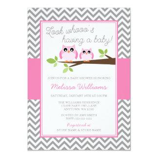 "Pink Owl Gray Chevron Girl Baby Shower 4.5"" X 6.25"" Invitation Card"