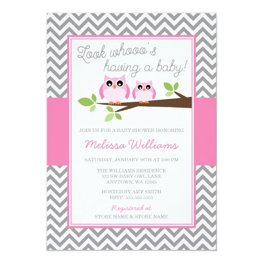 Pink Owl Grey Chevron Girl Baby Shower Card